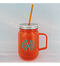 Orange 16 oz. Double Wall Mason Jar with Straw #60127-ORANGE