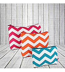 Dark Pink, Orange, and Turquoise Chevron 3-Piece Pouch Set #60131