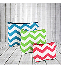 Turquoise, Lime, and Dark Pink Chevron 3-Piece Pouch Set #60131