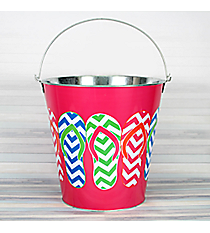 Fuchsia with Chevron Flip Flops Large Tin Bucket #60132-FUCHSIA