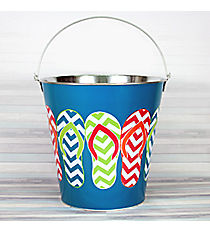 Turquoise with Chevron Flip Flops Large Tin Bucket #60132-TURQ