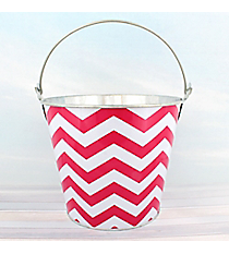 Fuchsia Chevron Tin Bucket #60134-FUCHSIA