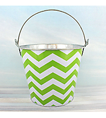 Lime Chevron Tin Bucket #60134-LIME