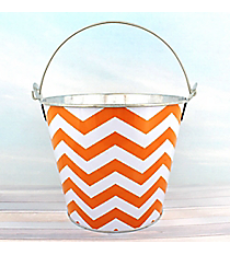 Orange Chevron Tin Bucket #60134-ORANGE