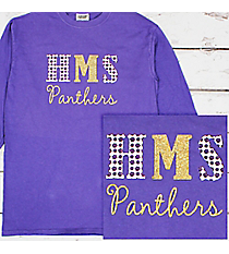School Initials and Team Name Comfort Colors Long Sleeve T-Shirt #6014 *Personalize Your Text and Colors