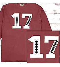 Football Number Comfort Colors Long Sleeve T-Shirt #6014 *Personalize It!