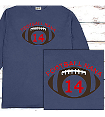 Football Supporter Comfort Colors Long Sleeve T-Shirt #6014 *Personalize Your Name and Colors