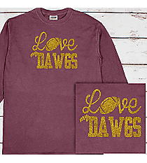 Love My Football Team Comfort Colors Long Sleeve T-Shirt #6014 *Personalize Your Team and Colors