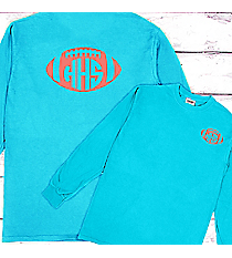 Football with School Initials Comfort Colors Long Sleeve T-Shirt #6014 *Personalize Your Text and Colors