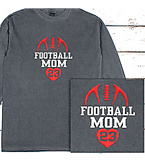 Football Heart Comfort Colors Long Sleeve T-Shirt #6014 *Personalize Your Text and Colors