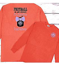 Tailgates and Touchdowns Mason Jar Monogram Comfort Colors Long Sleeve T-Shirt #6014 *Personalize It!