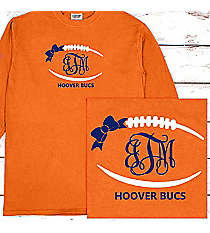 Football Outline with Bow Monogram Comfort Colors Long Sleeve T-Shirt #6014 *Personalize Your Text and Colors