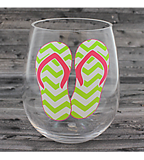 Lime Chevron Flip Flops Stemless Wine Glass #60150-LIME