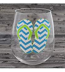 Turquoise Chevron Flip Flops Stemless Wine Glass #60150-TURQ