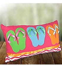 Fuchsia Chevron Flip Flops Pillow #60165-FUCHSIA