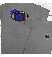 Football Bow Monogram Comfort Colors Adult Ring-Spun Cotton Pocket Tee #6030 *Choose Your Colors