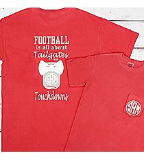 Tailgates and Touchdowns Mason Jar Monogram Comfort Colors Adult Ring-Spun Cotton Pocket Tee #6030 *Personalize It!