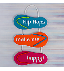 """Flip Flops Make Me Happy!"" Wooden Sign #60339"
