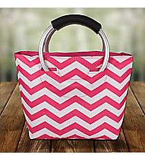 Fuchsia Chevron Insulated Lunch Tote with Round Handles #60388-FUCHSIA