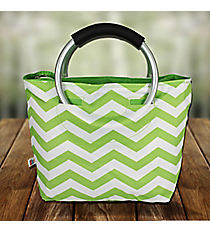 Lime Chevron Insulated Lunch Tote with Round Handles #60388-LIME