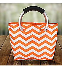 Orange Chevron Insulated Lunch Tote with Round Handles #60388-ORANGE