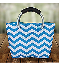 Turquoise Chevron Insulated Lunch Tote with Round Handles #60388-TURQ