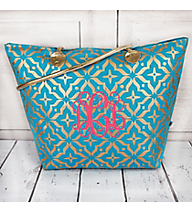 Blue and Metallic Gold Moroccan Floral Shoulder Tote #60469-BLUE
