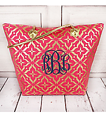 Pink and Metallic Gold Moroccan Floral Shoulder Tote #60469-PINK