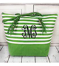 Green Striped Shoulder Tote with Tassels #60484-GREEN