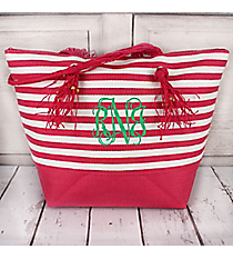 Pink Striped Shoulder Tote with Tassels #60484-PINK