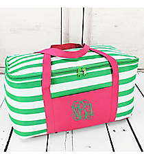 Green and White Striped with Pink Trim Insulated Basket with Lid #60507-GREEN