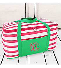 Pink and White Striped with Green Trim Insulated Basket with Lid #60507-PINK