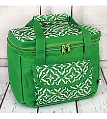 Green Moroccan Floral Insulated Lunch Tote #60510-GREEN