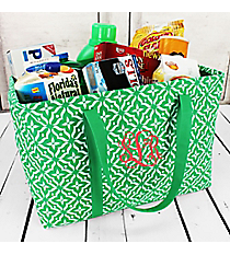 Green Moroccan Floral Market Basket #60583-GREEN