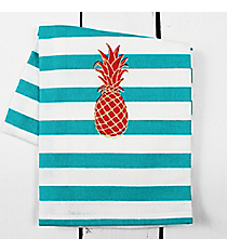 Pineapple Blue Striped Kitchen Towel #60585