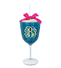 Blue Glitter 14 oz. Double Wall Wine Glass with Straw #60593-BLUE