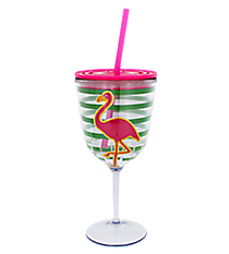 Flamingo Green Striped 14 oz. Double Wall Wine Glass with Straw #60600-FLAMINGO