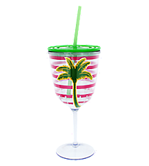 Palm Tree Pink Striped 14 oz. Double Wall Wine Glass with Straw #60600-PALMTREE