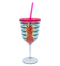 Pineapple Blue Striped 14 oz. Double Wall Wine Glass with Straw #60600-PINEAPPLE