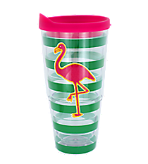 Flamingo Green Striped 24 oz. Double Wall Tumbler #60625-FLAMINGO
