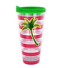 Palm Tree Pink Striped 24 oz. Double Wall Tumbler #60625-PALMTREE