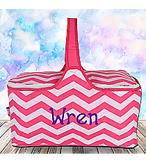 Pink Chevron Insulated Basket with Lid #60686-PINK