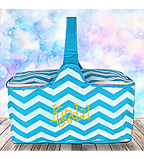Turquoise Chevron Insulated Basket with Lid #60686-TURQ