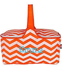 Orange Chevron Insulated Basket with Lid #60686-ORANGE