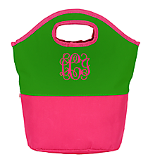 Green and Pink Colorblock Insulated Lunch Tote #60787-GRN/PNK