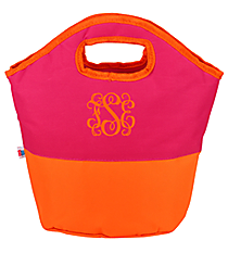 Fuchsia and Orange Colorblock Insulated Lunch Tote #60787-FUS/ORG