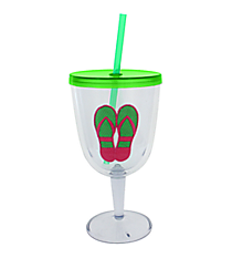 Green and Fuchsia Flip Flop 13 oz. Double Wall Wine Glass with Straw #60840-GRN