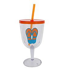 Orange and Blue Flip Flop 13 oz. Double Wall Wine Glass with Straw #60840-ORG