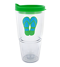 Green and Blue Flip Flop 24 oz. Double Wall Tumbler with Straw #60850-GRN