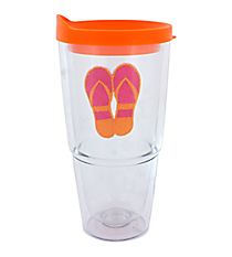 Orange and Fuchsia Flip Flop 24 oz. Double Wall Tumbler with Straw #60850-ORG